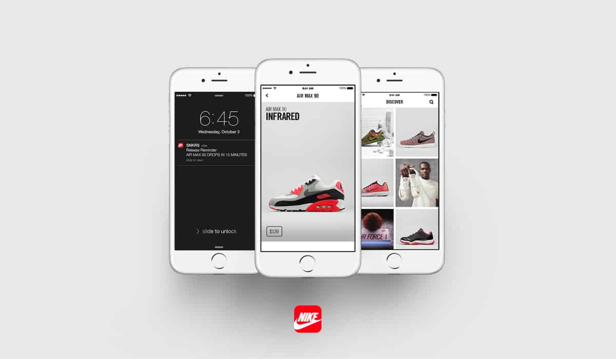 A photo of the Nike SNKRS app on three smartphone screens.