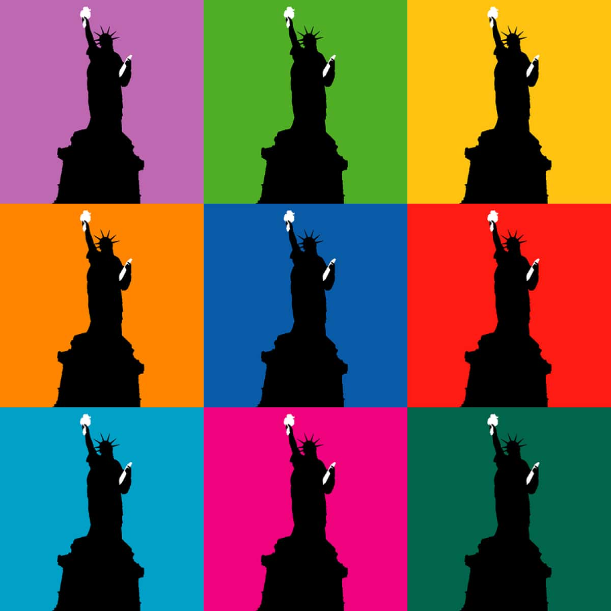 A pop art-style image of the Statue of Liberty with nine different background colors.