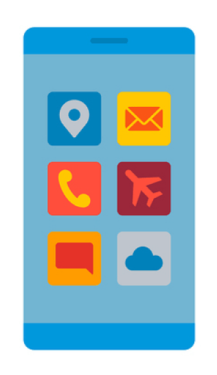 A rendered image of a smartphone with app icons on the screen.