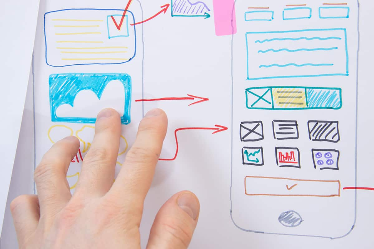 A photo of someone's hand pointing to a hand-drawn photo of a mobile app design layout.