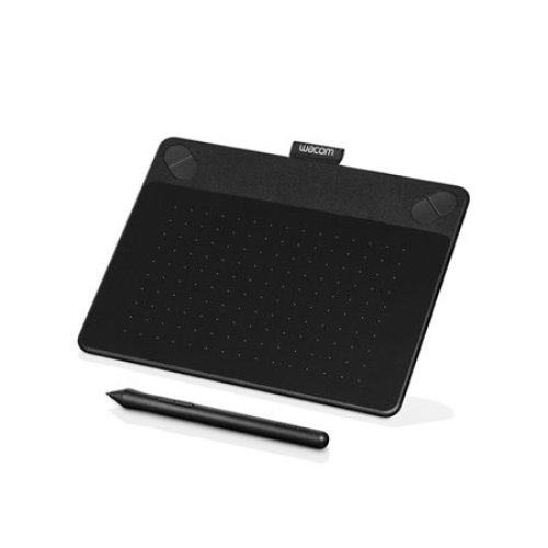 A photo of a Wacom Intuos drawing tablet and an accompanying stylus.