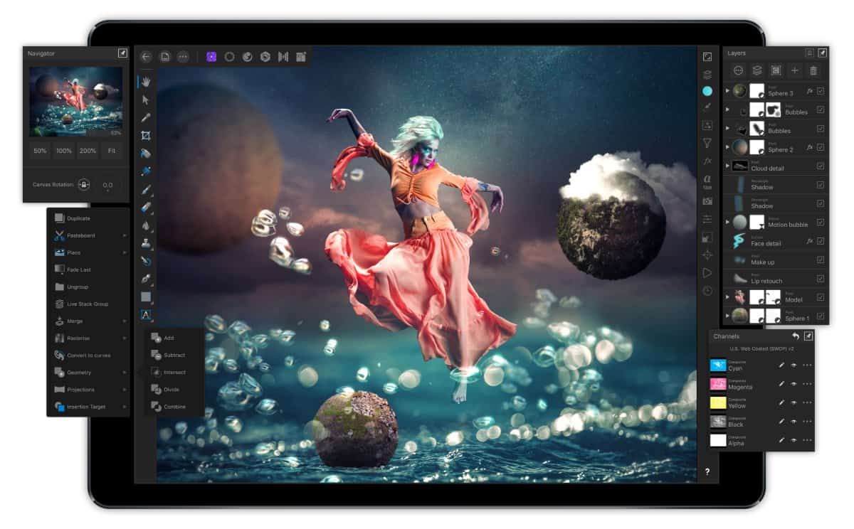 A photo of an image made with Affinity Designer, featuring a woman floating in mid-air in a flowing skirt.