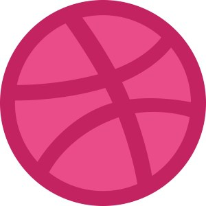 An image rendering of Dribbble's logo, which looks a bit like a basketball.