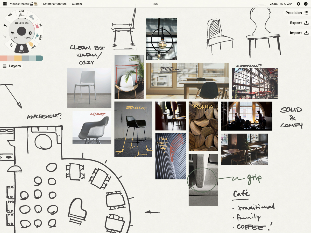 A screenshot from Concepts featuring an ideation board for a coffee house design.