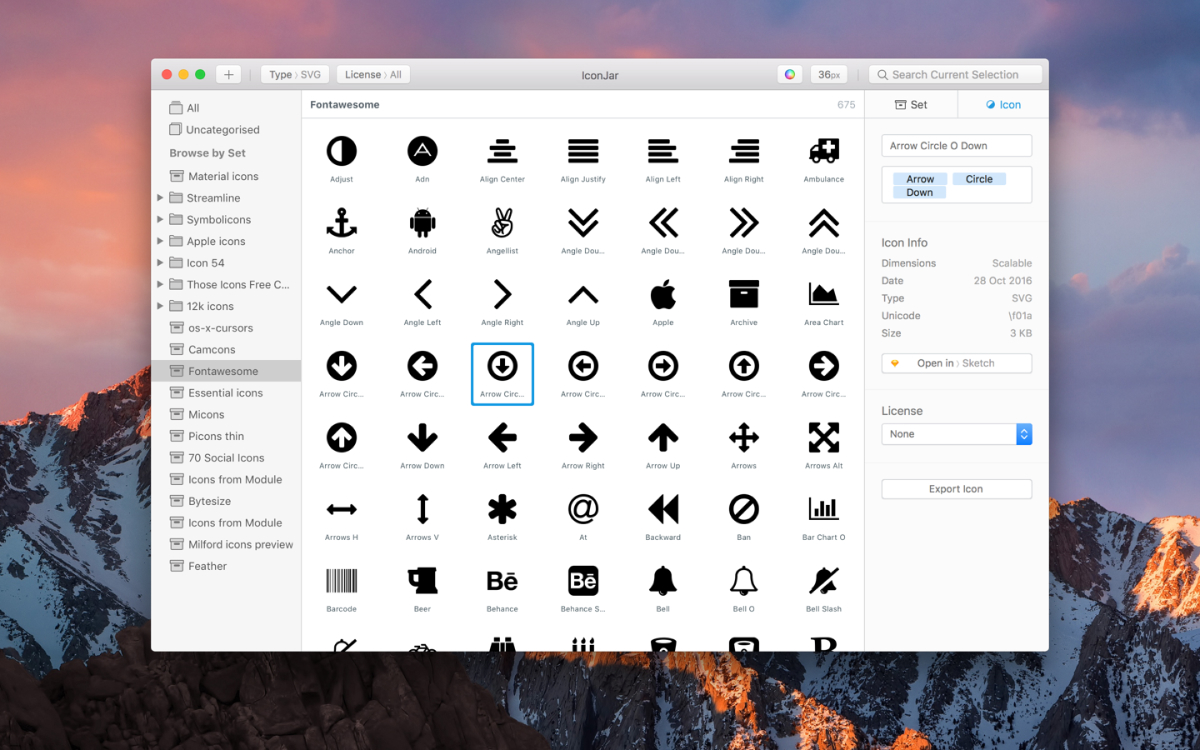 A screenshot from IconJar showing multiple different icons to choose from.