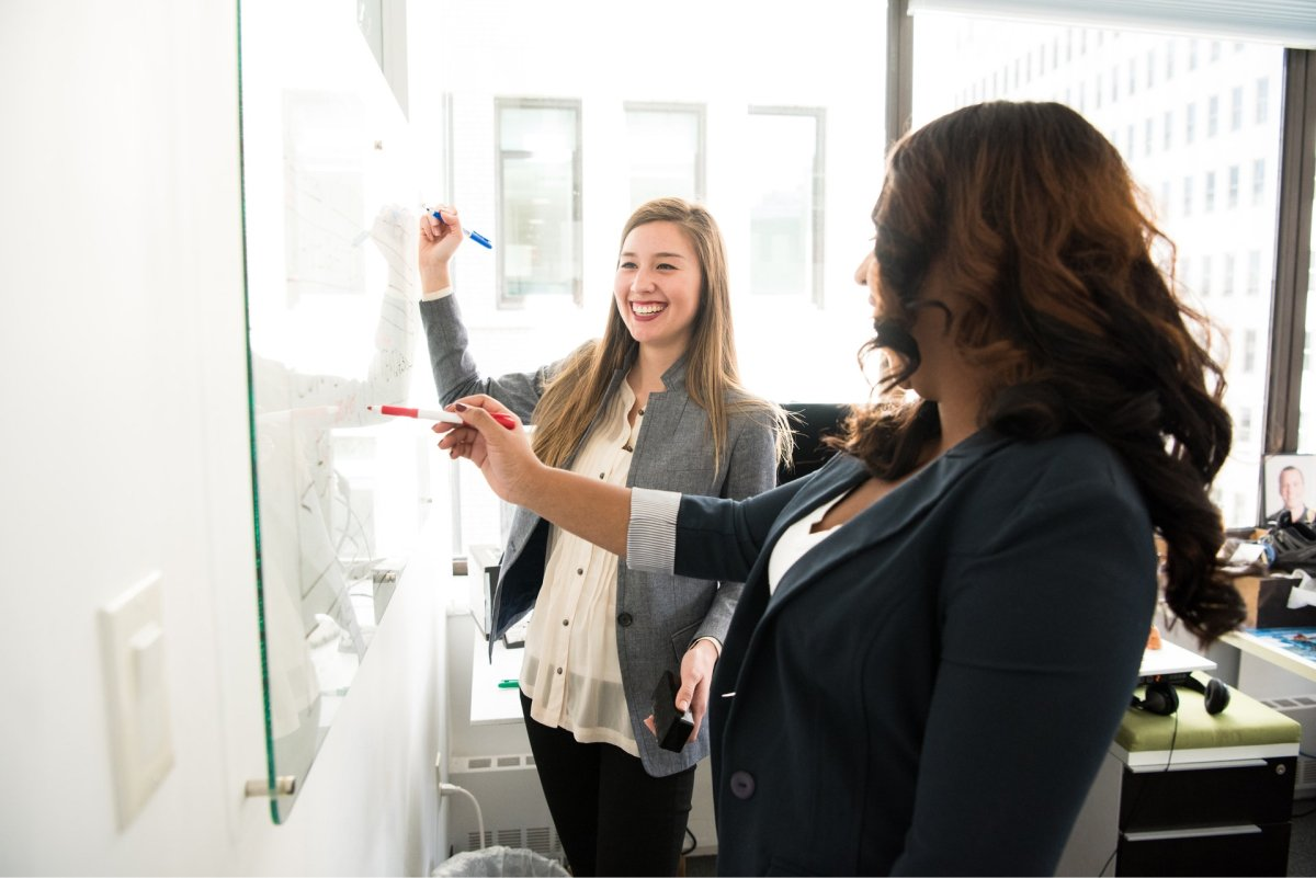 Two women having a whiteboarding session.