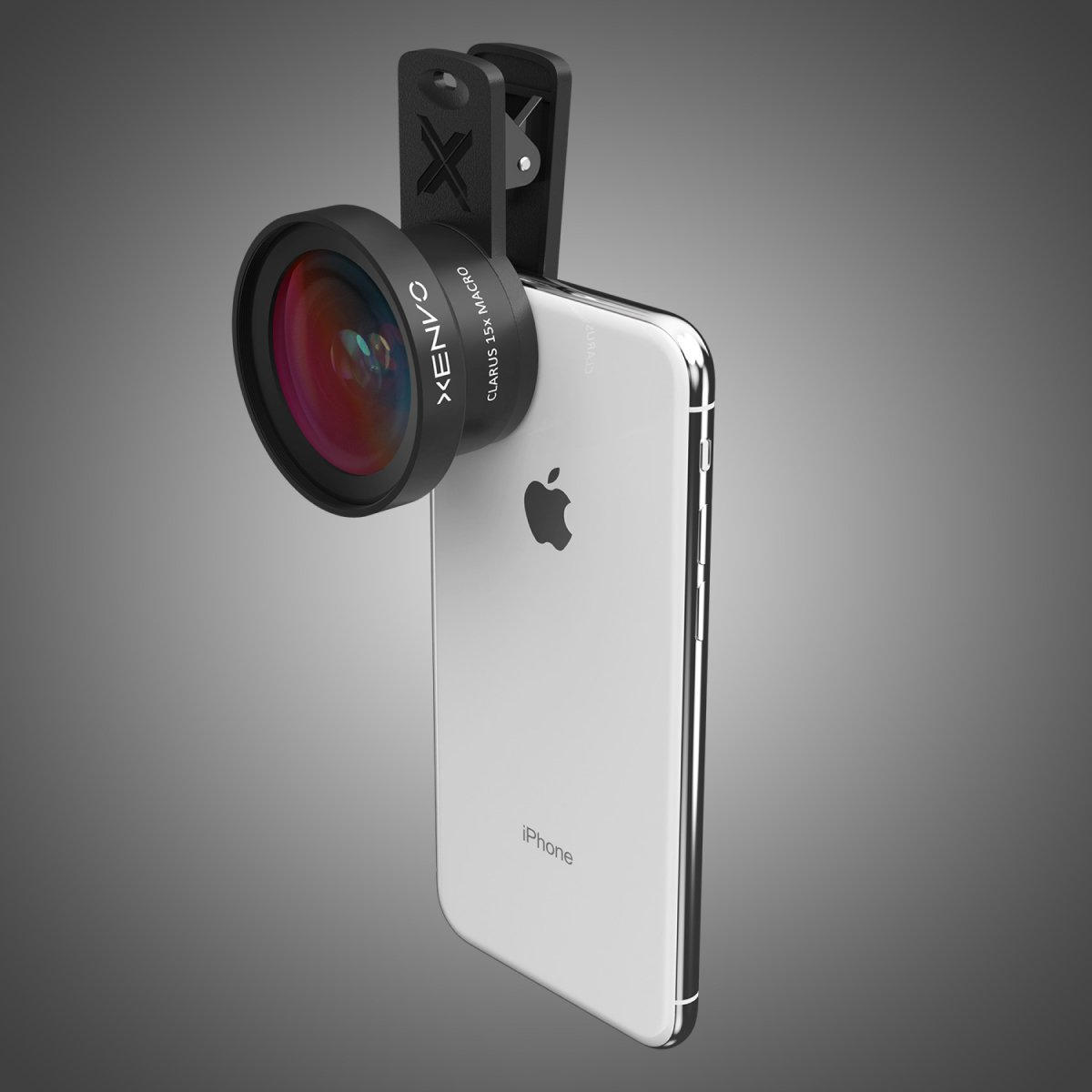 A photo of the Xenvo Pro Lens Kit attached to an iPhone.
