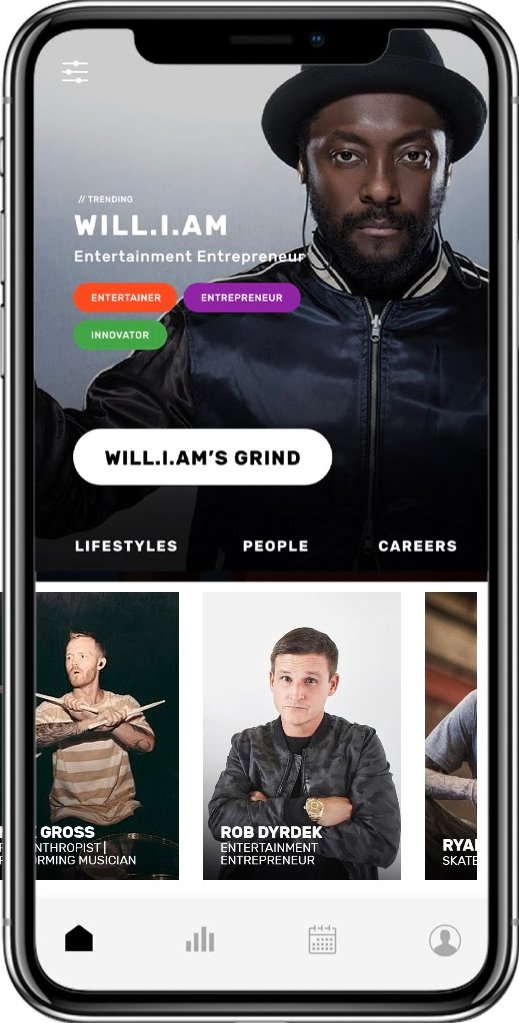 A photo of the Find Your Grind app open on a smartphone, featuring artist will.i.am.