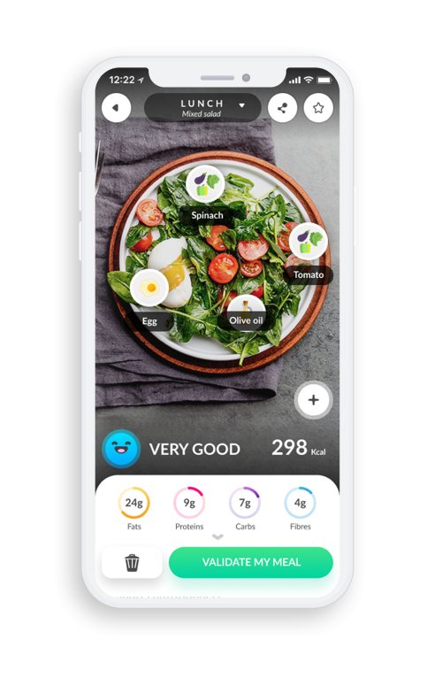 A photo of Foodvisor, Top Mobile App Designs of 2019