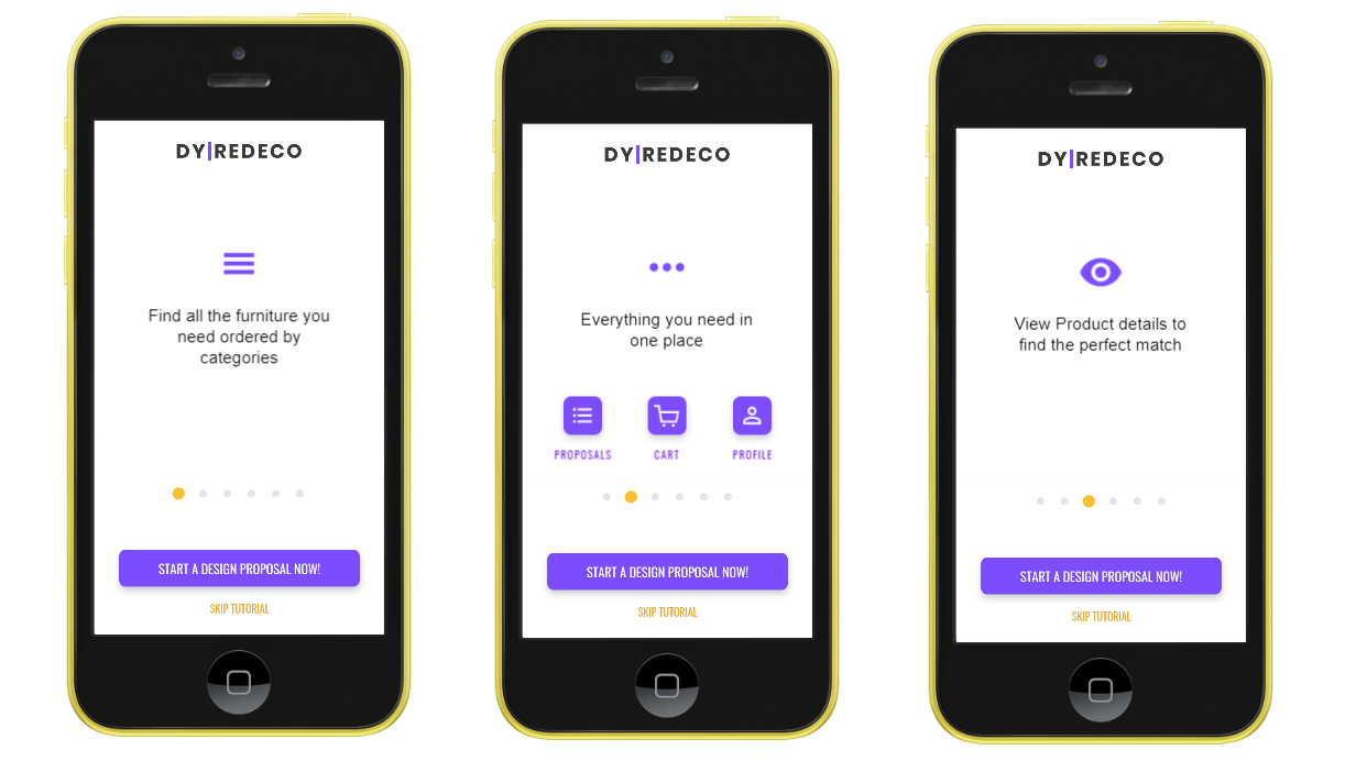 Three screenshots of an interior design mobile app prototype that shows a tutorial onboarding experience that walks users through the meaning of each icon.