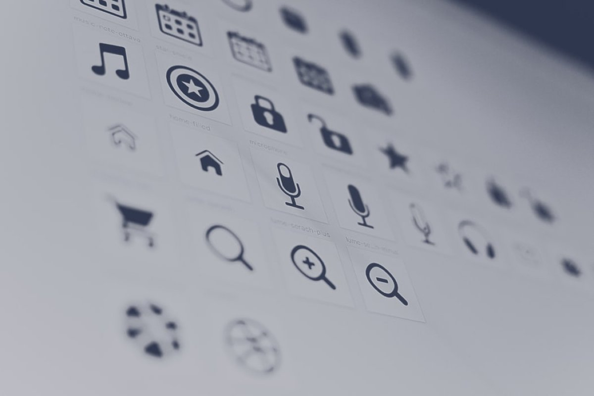 A close-up photo of a screen showing a variety of icons used in mobile UI design.