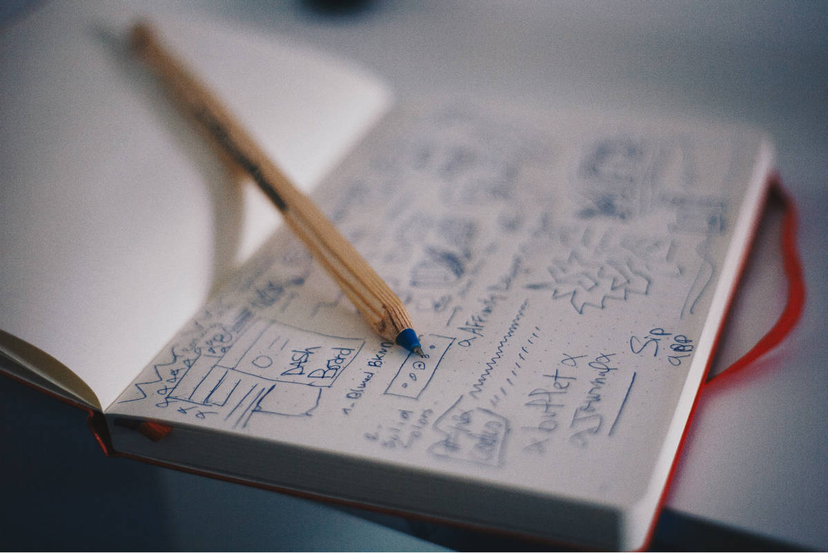 A white notebook with notes written in pen.