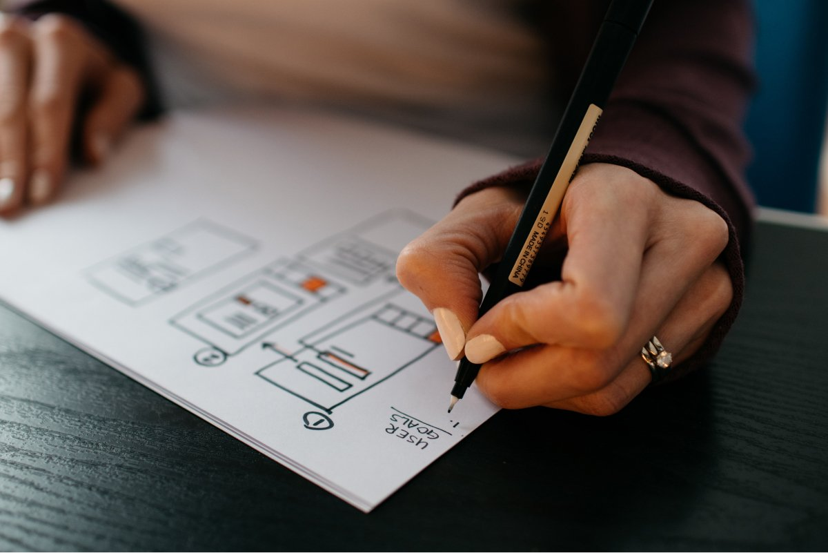 A woman's hand sketches out an app design on some paper.
