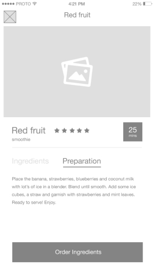 A screen from a wireframe of Smoothies to Door Proto.io Sample project