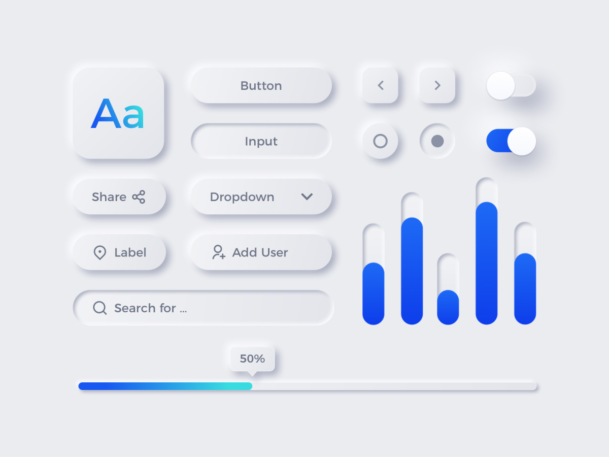 Design elements based on the neumorphic trend.