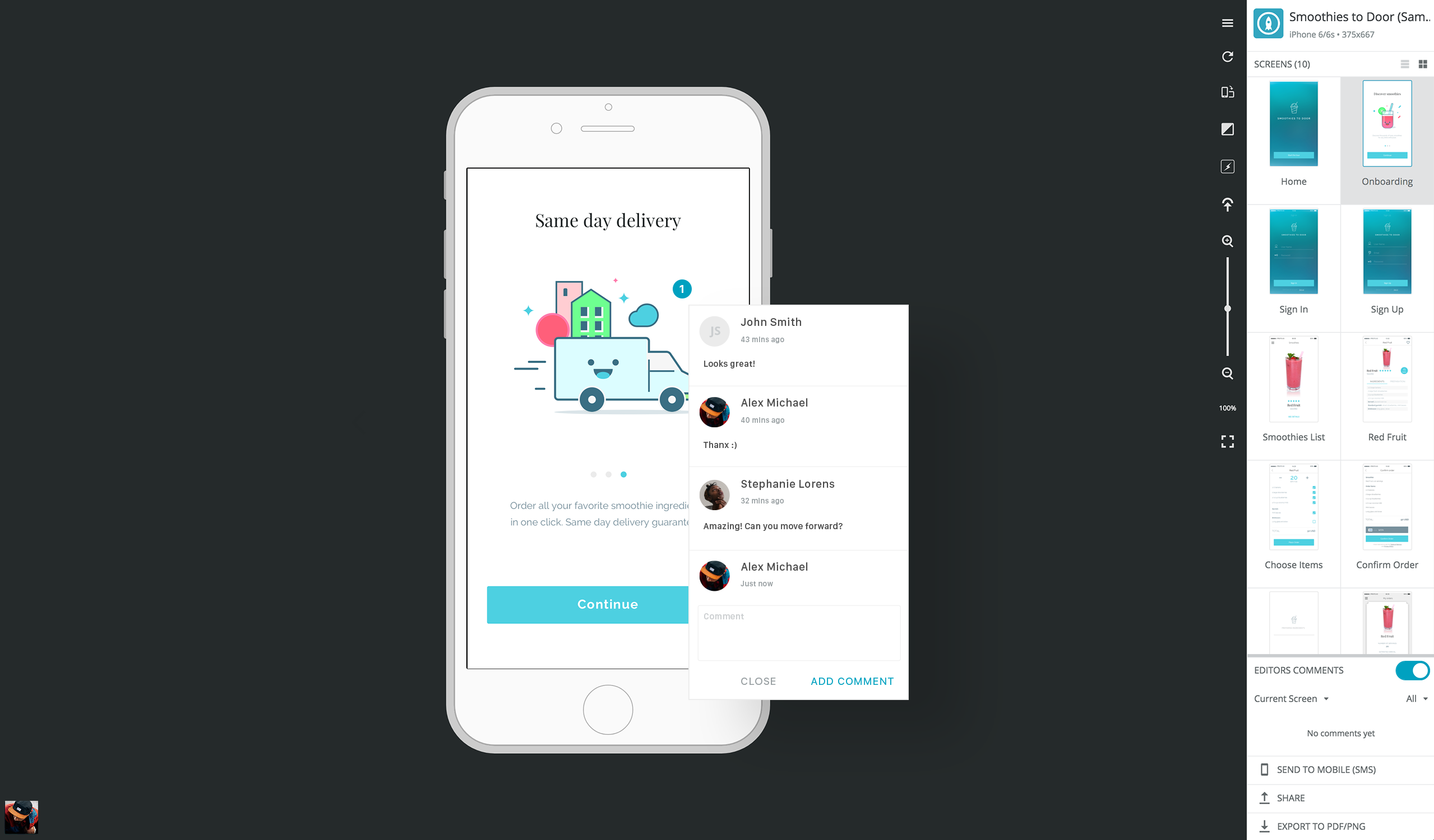 A screenshot of the Proto.io product in which you can view comments left on a prototype by collaborators.