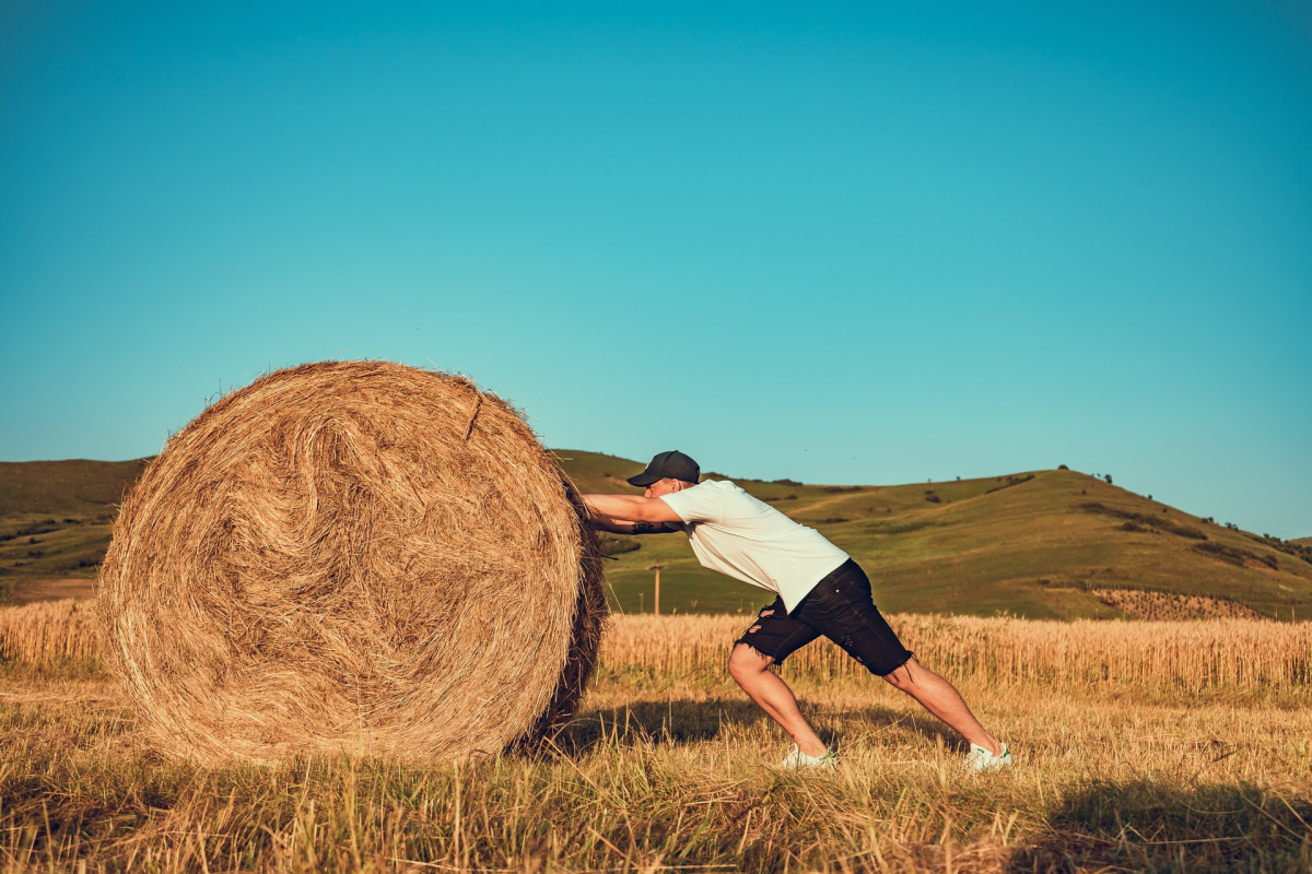 A man pushing a giant bale of hay in a field.